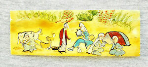 """ORIENTAL ANTIQUE MINIATURE HAND PAINTING GOUACHE ON YELLOW MATERIAL """"EPIC SCENE"""""""