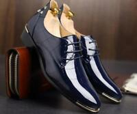 Mens Shiny Brogue Lace Up Pointy Toe Metal Formal Dress Business Oxford Shoes