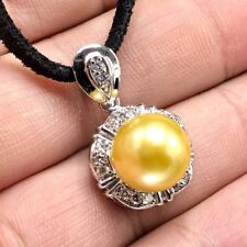 GOLDEN! South Sea Pearl Diamonds 18K solid white gold necklace pendant Natural
