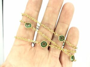 Fantastic Vintage 9ct Rolled Gold Necklace Chain With Green Stones