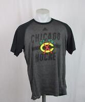 NHL Men's M Chicago Blackhawks Ultimate Charcoal/Black Shirt Adidas