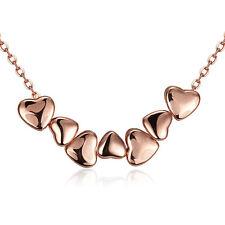 Elegant 18k 18CT Rose Gold Filled GF Heart Link Pendant Chain Necklace N481