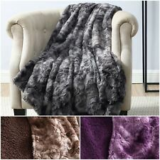 Chezmoi Collection Cozy Soft Faux Wolf Fur Throw Blanket w/ Plush Sherpa Fleece