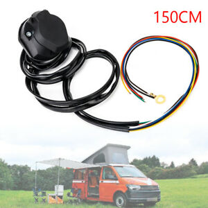 1PC 150CM RV 7PIN-Way Car Trailer Socket Plug Extension Cable Wiring Adapter
