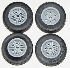LEGO LOT OF 4 NEW 49.5 X 20 TIRES WITH LIGHT BLUISH GREY HUBS CAR TRUCK PARTS