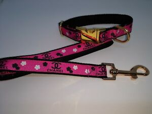 """Dog Collar and LEAD 8"""" - 12"""" neck size. Chihuahua, puppy, Gold Metal Buckle"""