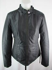 Details Intl Women's Black Color Faux Leather Moto Jacket Size M Y111