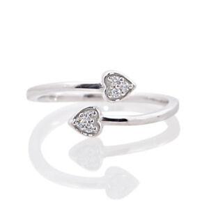 14k White Gold FN 925 Silver VVS1 Diamond Adjustable Bypass Leaf Women Toe Ring