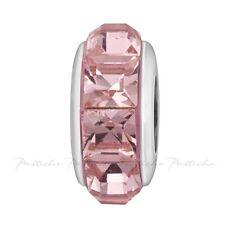 Lovelinks Bead Silver, Swarovski Antique Rose Pyramid Crystals Charm TT641PK
