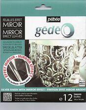 Gedeo effet miroir couleur argent feuille en métal 12 Feuilles Décoration Dorure PEBEO