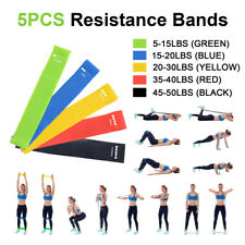 Resistance Bands Loop Set Strength Fitness Legs Arms Exercise Yoga Workout 5PCS