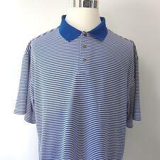 Ping Collection Mens XXL Golf Polo Shirt Blue & White Stripes Dry Fiber Dynamic