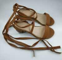New Look size 6 (39) tan brown suede long lace up block heel open toe sandals