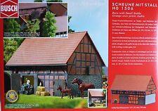 H0 BUSCH Vierseithof Scheune m. Stall Ziegelfachwerk Putz - Steinsockel # 1506