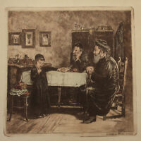Isidor Kaufmann (1853-1921) - Rabbis Querying a Young Student Colored Etching
