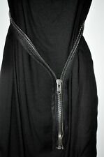 Helmut Lang Black Cascade Twill Viscose SILK Dress Zipper Belt Size 8 Cowl Neck