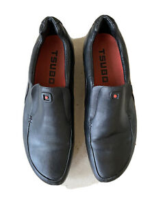 Mens Tsubo Casual Loafers Fashion Shoes Sz 10 EU Sz 40  Stretch Leather Black