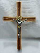 """BEAUTIFUL WOOD METAL CRUCIFIX CROSS 17"""" TALL 11.5"""" WIDE POSSIBLY HANDCRAFTED"""
