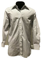 Lands End Purple Striped White Button Plus Size 16W Blouse Shirt Top Career