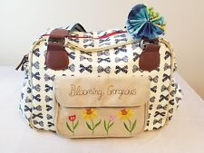 Pink Lining Diaper Bag Beige with Navy Blue Bows Awesome