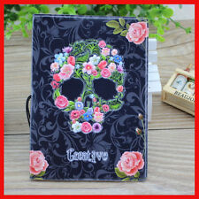 Passport Case Cover Travel Wallet Pouch Ticket Organizer Skull Pattern TA004