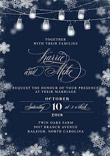 100 wedding invitations winter snowflakes with string lights Set with envelopes