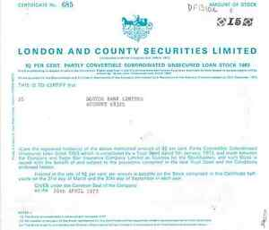Gerald Caplan London and County Securities Limited > 1973 Lloyds Bank England