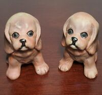 Vintage Cocker Spaniel Puppies In Sitting Pose.   Brown Ceramic, Hand Painted