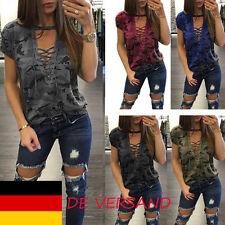 Damen Tief Riemchen Camouflage Hollow Out Sommer Blusen Tops Oberteil Shirt Hemd