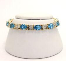 Diamond blue topaz Etruscan bracelet 14K oval VS round brilliants 19.65CT 22.5GM
