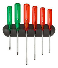 PB Swiss Tools PB 245 Screwdriver Set Slotted/PoziDriv Wall Rack Classic Handle