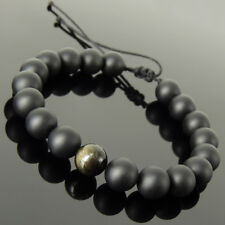 Handmade Gemstone Braided Bracelet 10mm Golden Obsidian Matte Black Onyx 1740