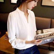 Women Chiffon Summer Tops Long Sleeve T-Shirt V Neck Loose White Blouse Size XL