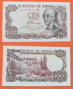 Spain - Banknotes Of 100 Pesetas 1970 Manuel Of Falla. Without Circular Sc