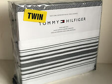 NEW! TOMMY HILFIGER 3-PCS TWIN SIZE SHEETS BEDSHEETS SET IN GRAY WHITE STRIPES
