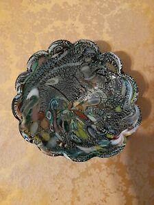 Murano Black Tutti Frutti Millefiori Art Glass Dish Bowl