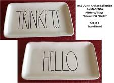 Rae Dunn Magenta Trinkets & Hello Platters Trays Plates Set Of 2 New