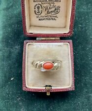 size M 1/2, Us 6.5 Vintage gypsy style coral ring Uk