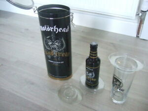 MOTORHEAD ROAD CREW EMPTY BEER BOTTLE WITH CAP - PINT GLASS TIN CAMERONS BREWERY