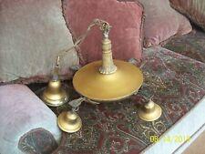Antique 1920's Chain & Pan 4 Light Hanging Chandelier Brass Lighting Fixture