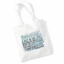 Art Studio Tote Bag THE BEATLES Lyrics Print Album Poster Gym Beach Shopper Gift