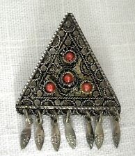 VINTAGE~MADE IN ISRAEL~.925 STERLING SILVER & CORAL TRIANGLE PIN BROOCH PENDANT