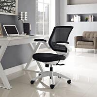 Ergonomic Swivel Mesh White Base Computer Desk Task Office Chair in Black