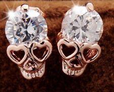 Pair Small Gold Skull and Crystal Earrings For Stud Pierced Ears UK Seller E19
