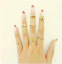 Set 7 Stk  Ring Fingerspitzenring Nagelring Obergelenkring Infinity Herz Midi