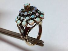 GORGEOUS OPAL CLUSTER SOLID 12K GOLD RING SIZE 7.25