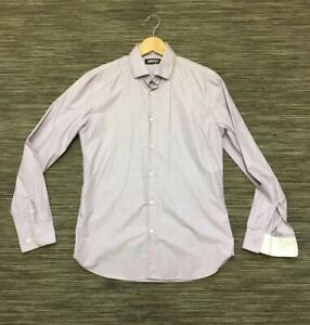 """DKNY Mens Long Sleeve Striped Cotton Shirt In Lilac White M 15.5"""" Mint Condition"""