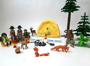 Vintage Playmobil Camping Woods Tent Animals Custom Toy Set Diorama Racoon Fox