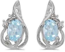 10 Quilates Oro Blanco Ovalado Aguamarina & Diamante Pendientes largos