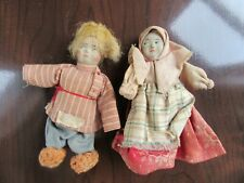 "2 - 4"" Soviet Union Russian Composition & Cloth Stockinette Dolls w/ Labels"